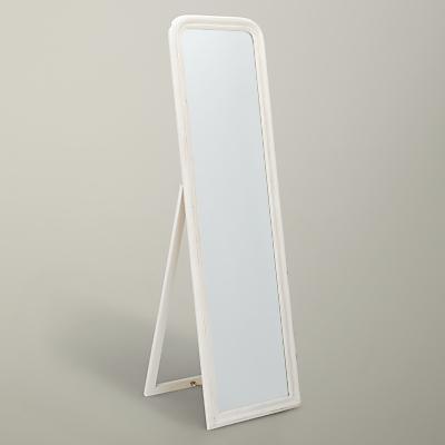 John Lewis Distressed Cheval Mirror, 158.5 x 38cm, Cream