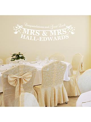 Megan Claire Personalised Mrs & Mrs Just Married Wall Sticker