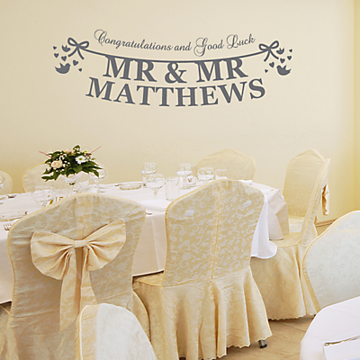 Megan Claire Personalised Mr & Mr Just Married Wall Sticker