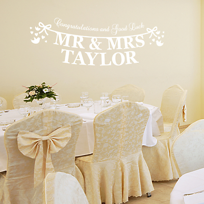 Megan Claire Personalised Mr & Mrs Just Married Wall Sticker