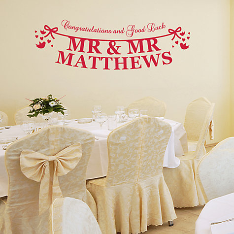 Buy Megan Claire Personalised Mr & Mr Just Married Wall Sticker Online at johnlewis.com