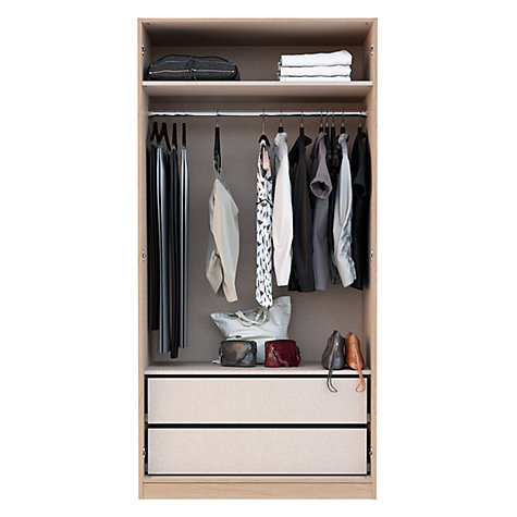 Buy House by John Lewis Mix it Mirrored Double Wardrobe, Grey Ash Online at johnlewis.com
