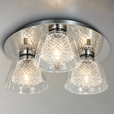 Buy illuminati horatio cut crystal bathroom flush light 3 light john lewis John lewis bathroom design and fitting