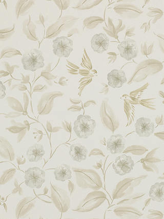 Buy Sanderson Bird Blossom Wallpaper, Ecru / Silver, DAEG213059 Online at johnlewis.com