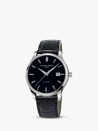 Frederique Constant FC-303B5B6 Men's Classics Index Automatic Leather Strap Watch, Black