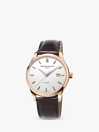Frederique Constant FC-303V5B4 Men's Classics Index Automatic Leather Strap Watch, Brown/White