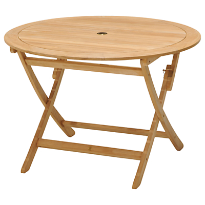 John Lewis & Partners Longstock Round 4-Seater Foldable Garden Table, FSC-Certified (Teak), Natural