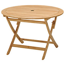Buy John Lewis Longstock Round 4-Seater Foldable Outdoor Table, FSC-Certified (Teak), Natural Online at johnlewis.com