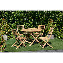 Buy John Lewis Longstock Round Outdoor Table & 4 Folding Chairs, FSC-Certified (Teak), Natural Online at johnlewis.com