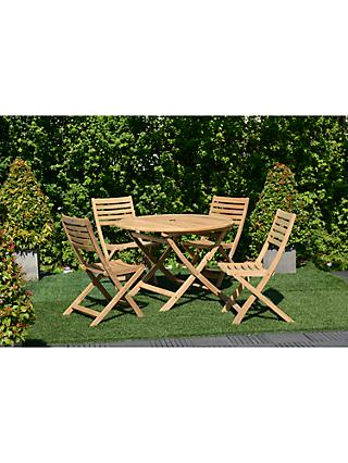 John Lewis Longstock Round Garden Table & 4 Folding Chairs, FSC-Certified (Teak), Natural