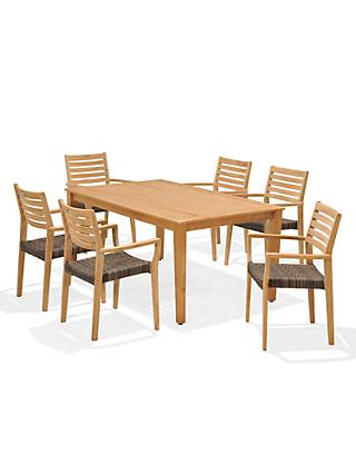 John Lewis Longstock Rectangle Garden Dining Table & 6 Woven Stacking Armchairs, FSC-Certified (Teak), Natural