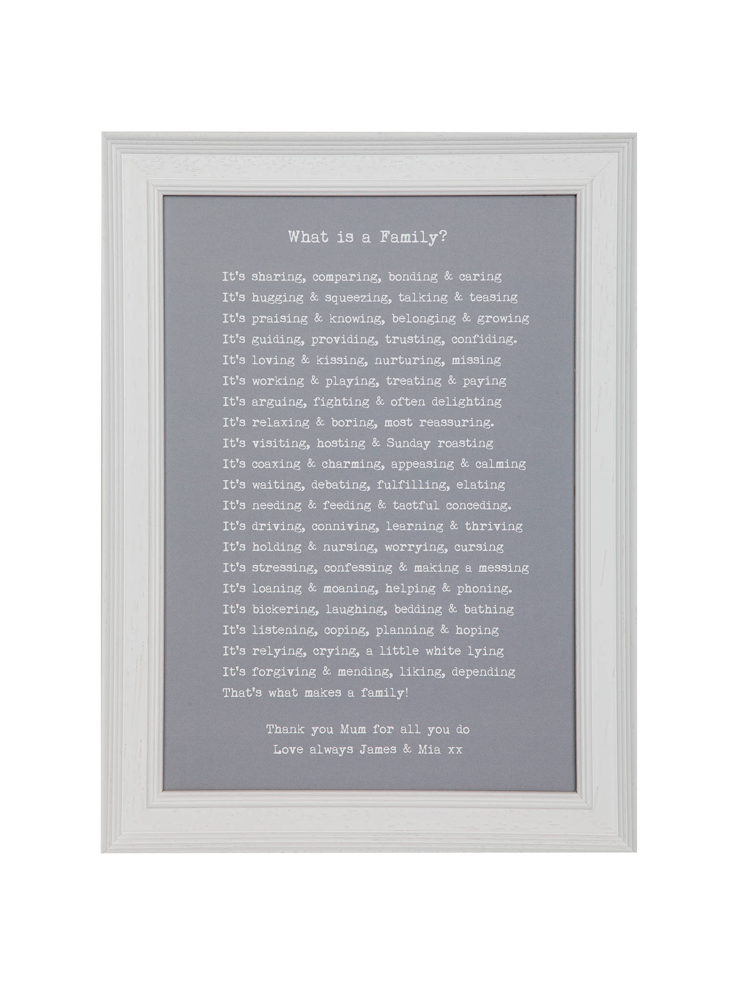 Bespoke Verse Personalised What Is A Family Poem Framed Print