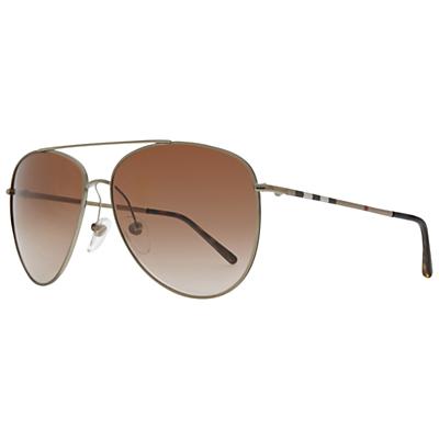 Burberry BE3072 Aviator Sunglasses, Brown/Gold