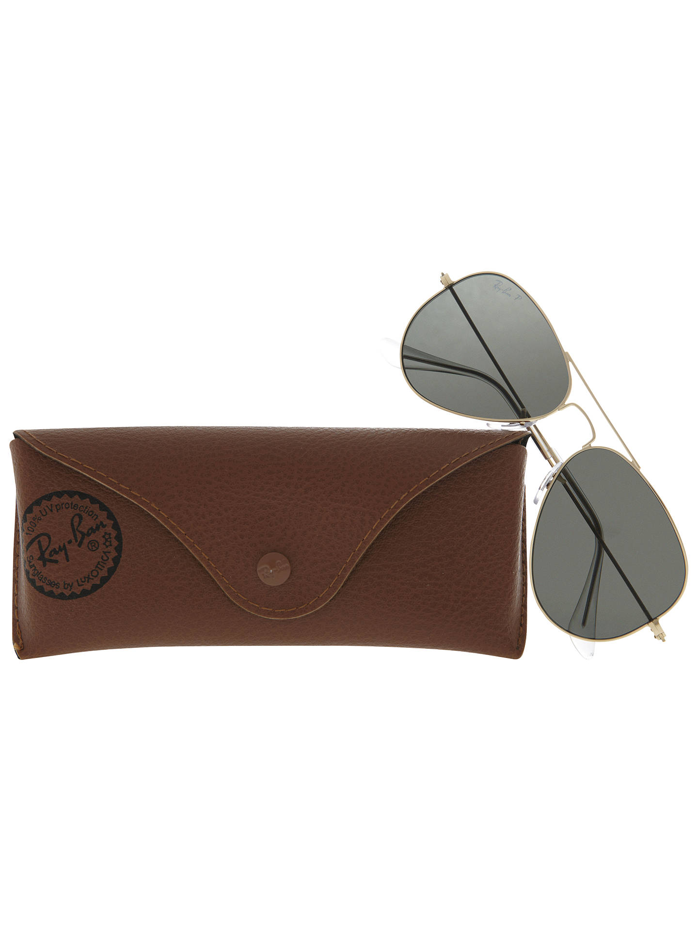 BuyRay-Ban RB3025 Polarised Aviator Sunglasses, Gold/Grey Online at johnlewis.com