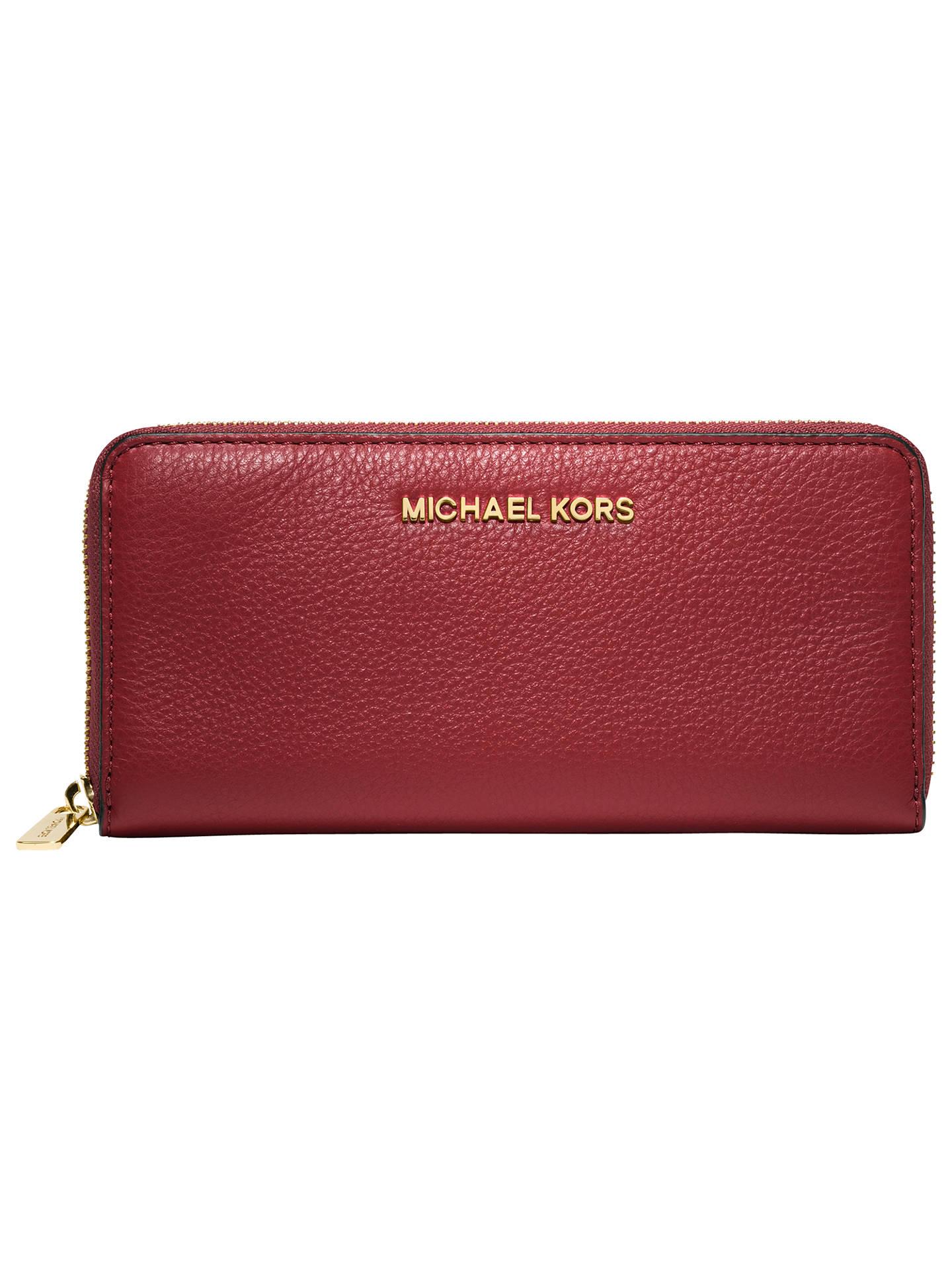 a19c7e8e91fcb5 Buy MICHAEL Michael Kors Jet Set Travel Leather Zip Around Continental Purse,  Grainy Red Online ...