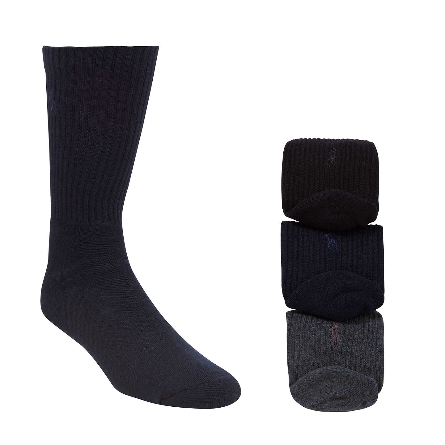 BuyPolo Ralph Lauren Cotton Rich Socks, Pack of 3, One Size, Black/Charcoal/Navy Online at johnlewis.com