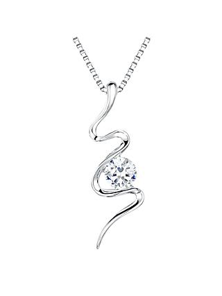 Jools by Jenny Brown Sterling Silver Cubic Zirconia S-Shape Pendant, Rhodium