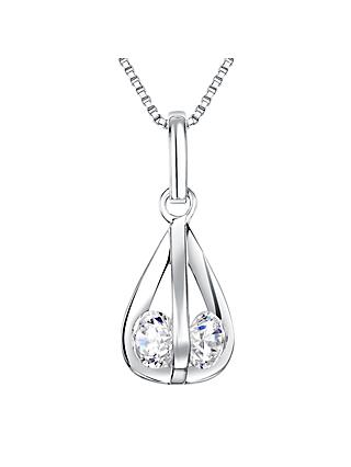 Jools by Jenny Brown Sterling Silver Cubic Zirconia 4-Sided Pendant, Rhodium