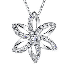 Buy Jools by Jenny Brown Sterling Silver Pave Flower Pendant, Rhodium Online at johnlewis.com