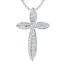 Buy Jools by Jenny Brown Freshwater Pearl and Cubic Zirconia Curved Edge Cross Pendant, Silver Online at johnlewis.com
