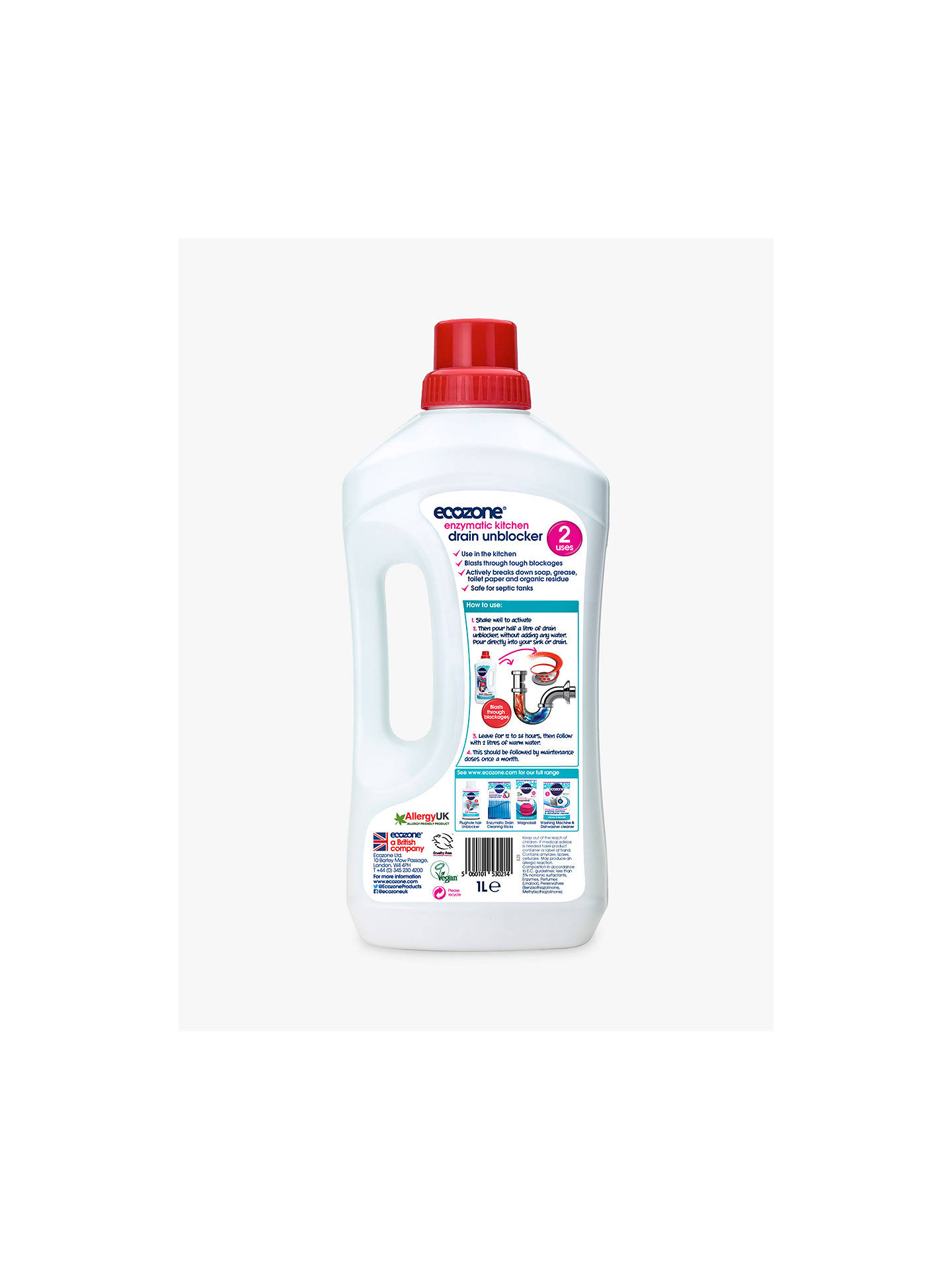 Ecozone Enzymatic Drain Unblocker 1l At John Lewis Amp Partners