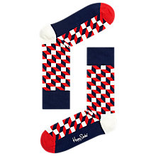 Buy Happy Socks Filled Optic Print Socks, One Size, Red Online at johnlewis.com