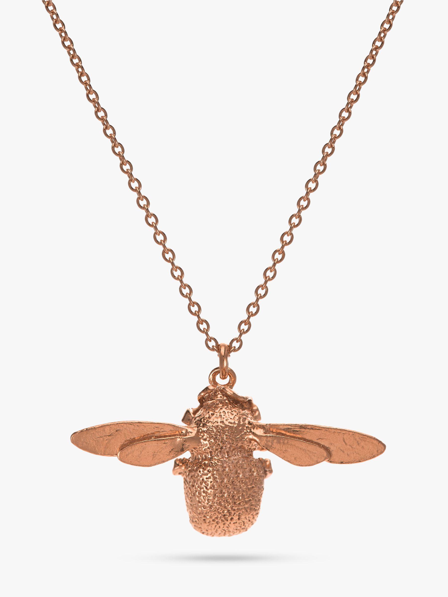 Alex Monroe Alex Monroe 22ct Rose Gold Vermeil Bee Pendant Necklace, Rose Gold
