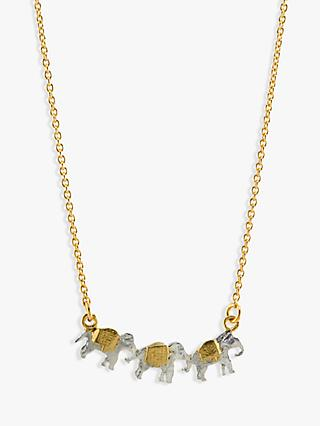 Alex Monroe 22ct Gold Vermeil Elephant Trio Necklace, Gold
