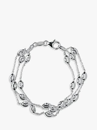 Links of London Essentials Sterling Silver Beaded Chain 3 Row Bracelet, Silver