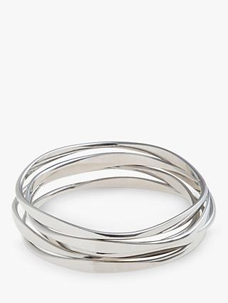 John Lewis & Partners Wave Bangles, Pack of Five, Silver