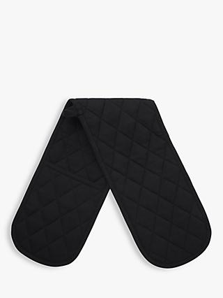 John Lewis & Partners The Basics Double Oven Glove, Black