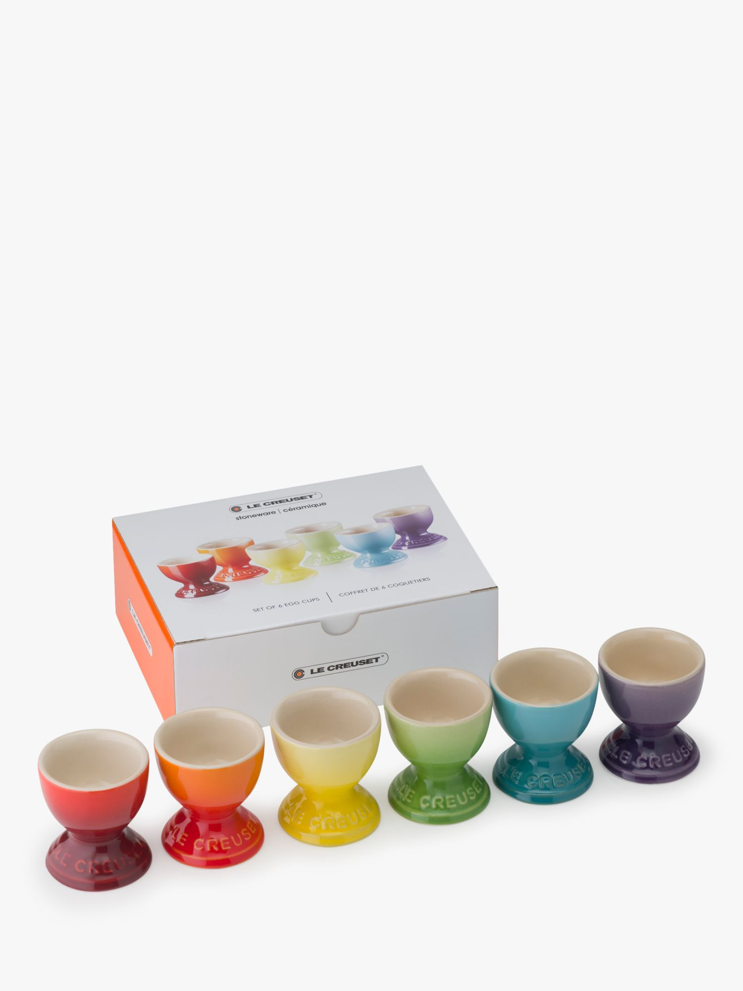 Le Creuset Le Creuset Stoneware Rainbow Egg Cups, Set of 6, Assorted