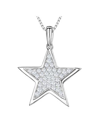 Jools by Jenny Brown Rhodium Plated Silver Cubic Zirconia Stars Pendant
