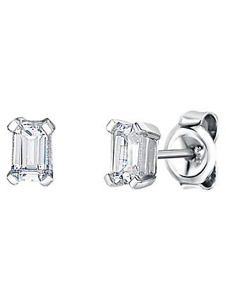 Jools by Jenny Brown Rhodium Plated Silver Cubic Zirconia Emerald Cut Drop Earrings