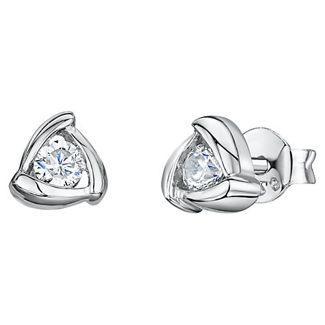 Buy Jools by Jenny Brown Cubic Zirconia Triangular Stud Earrings, Silver Online at johnlewis.com