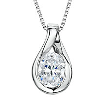 Buy Jools by Jenny Brown Twist Drop Oval Cubic Zirconia Pendant Necklace, Silver Online at johnlewis.com