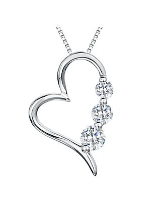 Jools by Jenny Brown Rhodium Plated Silver Cubic Zirconia Modern Heart Shaped Pendant