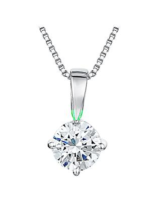Jools by Jenny Brown Round 0.5cm Solitaire Cubic Zirconia 4 Claw Set Pendant Necklace