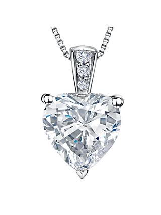 Jools by Jenny Brown Rhodium Plated Silver Cubic Zirconia Heart Shaped Pendant