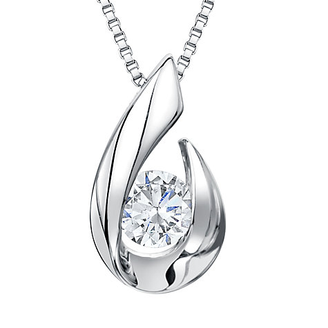 Buy Jools by Jenny Brown Silver Hook Cubic Zirconia Solitaire Pendant Necklace, Silver Online at johnlewis.com