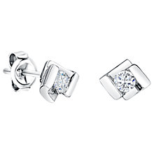Buy Jools by Jenny Brown Sterling Silver Offset Square Cubic Zirconia Stud Earrings Online at johnlewis.com