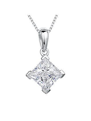 Jools by Jenny Brown Rhodium Plated Silver Cubic Zirconia Large Drop Square Pendant