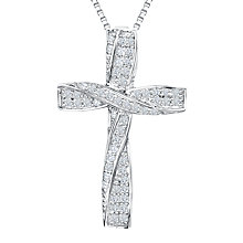 Buy Jools by Jenny Brown Rhodium Plated Silver Cubic Zirconia Twisted Cross Pendant Online at johnlewis.com
