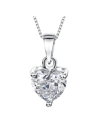 Jools by Jenny Brown Small Heart Cubic Zirconia Pendant Necklace, Silver