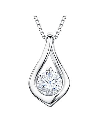 Jools by Jenny Brown Rhodium Plated Silver Cubic Zirconia Small Twisted Drop Pendant