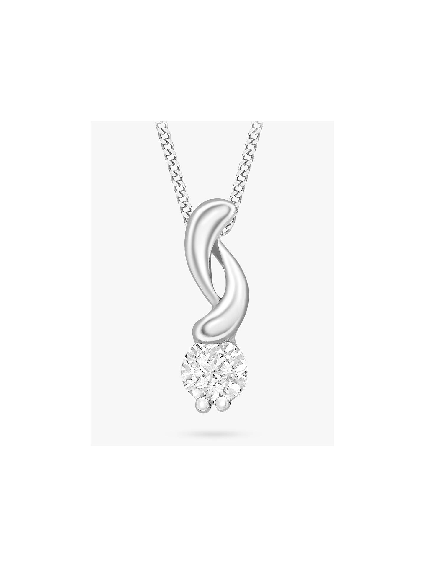 BuyIBB 9ct White Gold Cubic Zirconia Swirl Pendant Necklace Online at johnlewis.com