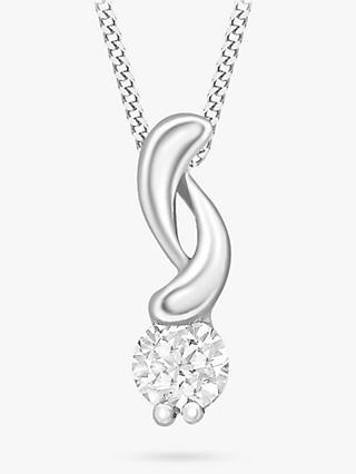 IBB 9ct White Gold Cubic Zirconia Swirl Pendant Necklace
