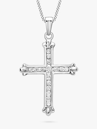 IBB 9ct White Gold Cubic Zirconia Cross Pendant
