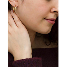 Buy IBB 9ct Yellow Gold Creole Lever Hoop Earrings, Gold Online at johnlewis.com