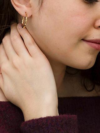 IBB 9ct Yellow Gold Creole Lever Hoop Earrings, Gold